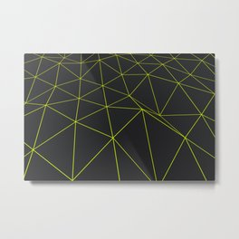 Dark low poly displaced surface with glowing lines Metal Print