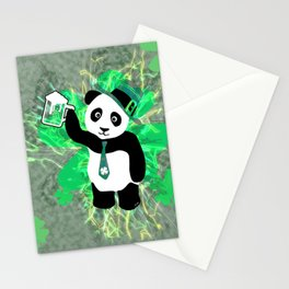 Patrick the Panda in Distressed Shamrock Background Stationery Cards