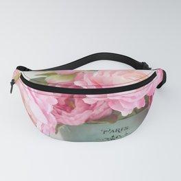 Paris Pink Peonies Bouquet Fanny Pack