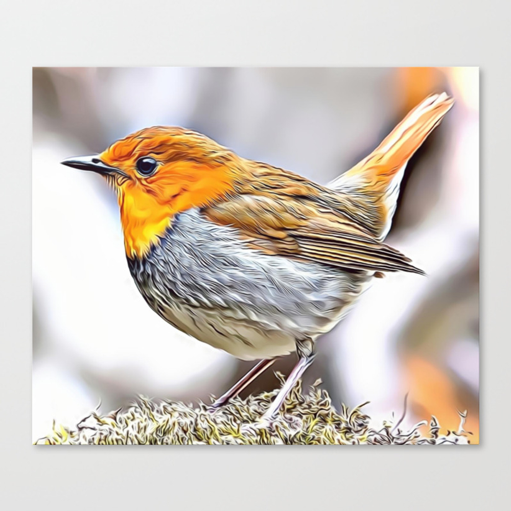 Robin Redbreast Airbrush Artwork Canvas Print by Russcarts (CNV9791332) photo