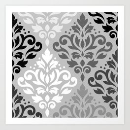 Scroll Damask Ptn Art BW & Grays Art Print