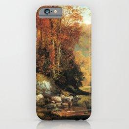 Cresheim Glen Wissahickon Autumn 1864 1 By Thomas Moran   Daytime Hike Watercolor Reproduction iPhone Case