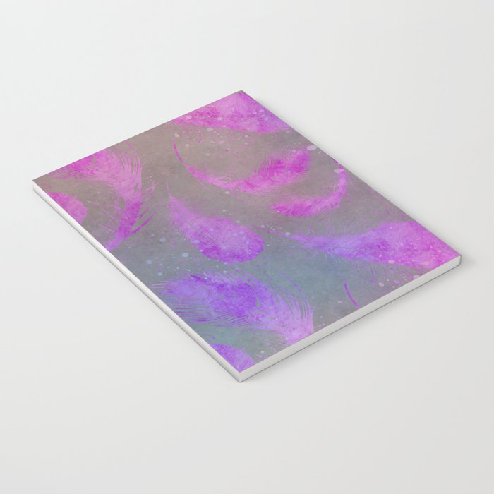 pink watercolor feather pattern Notebook