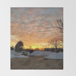 Winter Sunset, Chicago, 2018 Throw Blanket