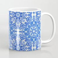 folk Mugs featuring Cobalt Blue & China White Folk Art Pattern by micklyn