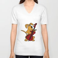 cello V-neck T-shirts featuring FunnyBrown Dog Playing Red Cello Artwork by Nature Smiles