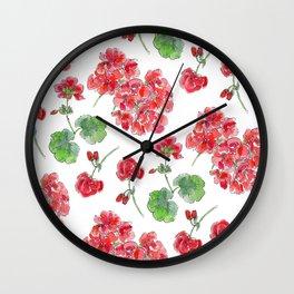 Red malvon pattern Wall Clock