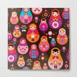 Russian Dolls illustration pattern print Metal Print