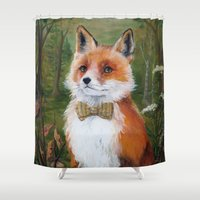 mr fox Shower Curtains featuring Mr. Fox by Marie-Ève Cardinal