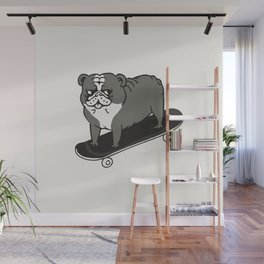 Skateboarding English Bulldog Wall Mural
