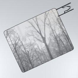 Black and White Forest Illustration Picnic Blanket