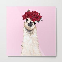 Llama with Red Roses Crown Metal Print