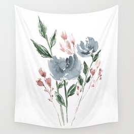 Old Blue Peonies Wall Tapestry