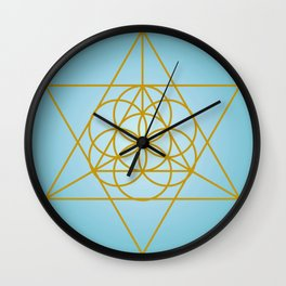 Golden Goodness Triangle Dance Sacred Geometry Abstract Design Wall Clock