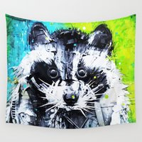 raccoon Wall Tapestries featuring RACCOON by Maioriz Home