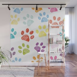 Colorful colored paw print background Wall Mural