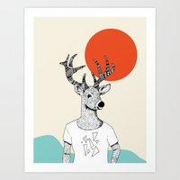 Triangle Deer T with color Art Print