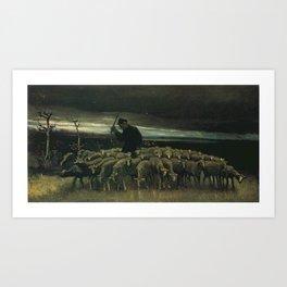 Vincent van Gogh - Shepherd with a Flock of Sheep Art Print