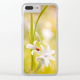 White flower with ladybug Clear iPhone Case