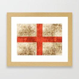 Vintage Aged and Scratched English Flag Framed Art Print