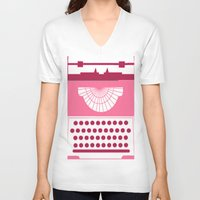typewriter V-neck T-shirts featuring Typewriter by Debra Ulrich