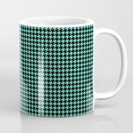 Aqua Blue And Black Hounds-tooth Check Coffee Mug