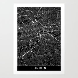 London Black Map Art Print