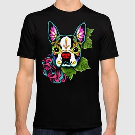 Boston Terrier in Black - Day of the Dead Sugar Skull Dog T-shirt