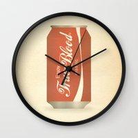 true blood Wall Clocks featuring True Blood by Beardy Graphics