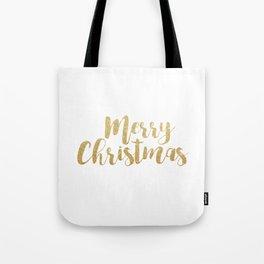 Merry Christmas | Gold Glitter Script Tote Bag