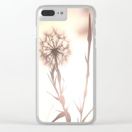 Pink Distant Dandelion Flower - Floral Nature Photography Art and Accessories Clear iPhone Case