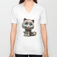 kitten V-neck T-shirts featuring Kitten by Antracit