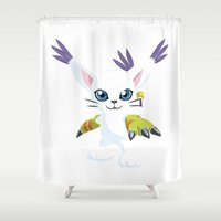 digimon Shower Curtains featuring DIGIMON - Gatomon by Daniel Bevis