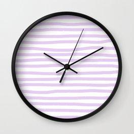 Lilac Stripes Horizontal Wall Clock
