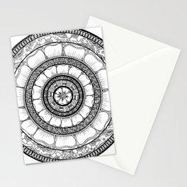 Circle - Mandala - Love Wealth Health Youthfulnes - White Black Stationery Cards