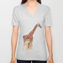 Giraffe Art - A Mother's Love - By Sharon Cummings Unisex V-Neck