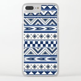 Tribal Art Pattern Navy Blue Silver White Clear iPhone Case