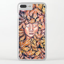 lady in leaves Clear iPhone Case