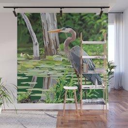 Great Blue Heron in Marsh Wall Mural