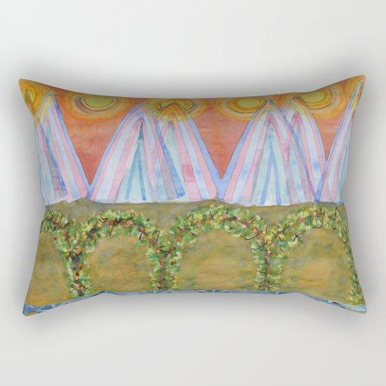 Tipis and decorated Wagon Rectangular Pillow