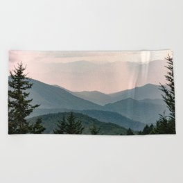 Smoky Mountain Pastel Sunset Beach Towel