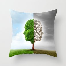 Two Faces one Land Throw Pillow