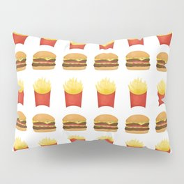 Burgers and Fries Pattern Pillow Sham