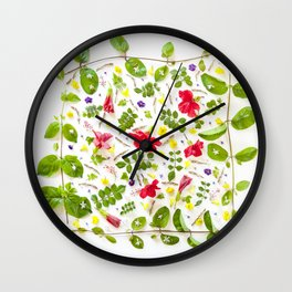 Leaves and flowers pattern (30) Wall Clock