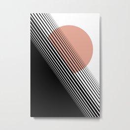 Rising Sun Minimal Japanese Abstract White Black Rose Metal Print