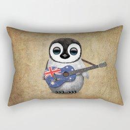Baby Penguin Playing Australian Flag Guitar Rectangular Pillow