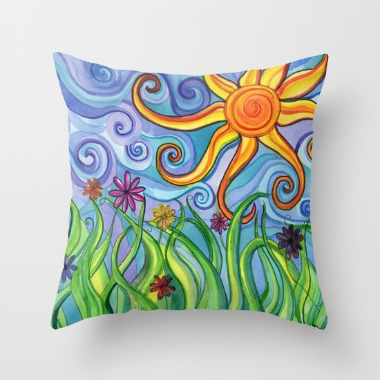 Sunny Skies Throw Pillow by Paint, Fabric, Whimsy Society6