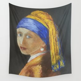 Girl with a Pear Earring Pastel, after Vermeer Wall Tapestry