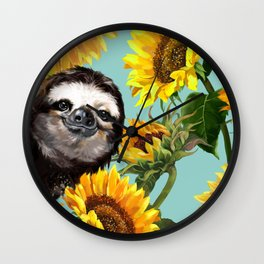 Sloth with Sunflowers Wall Clock