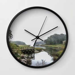 Early Autumn Fog on the Little River Wall Clock